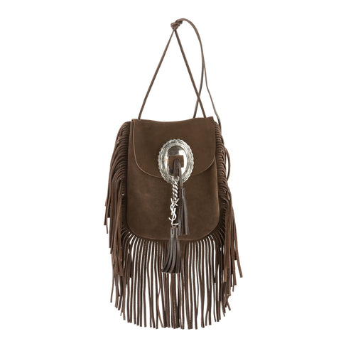 Saint Laurent Brown Suede Anita Flat Fringed Crossbody Bag (New with Tags)