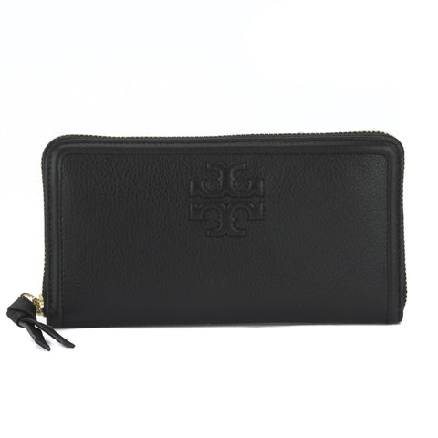 Tory Burch Black Leather Thea Multi-Gusset Zip Continental Wallet (New With Tags)