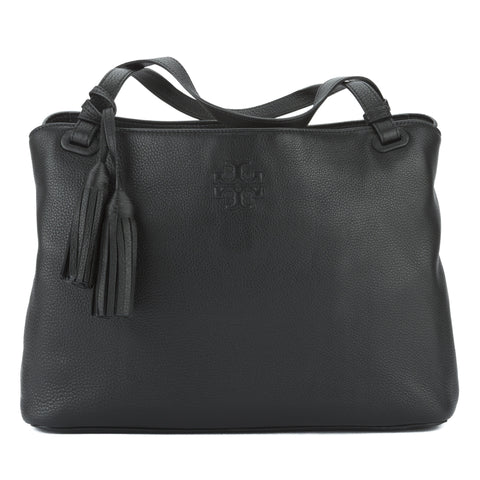 Tory Burch Black Leather Thea Center-Zip Tote (New With Tags)