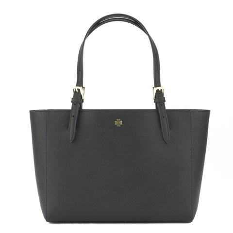 Tory Burch Black Saffiano York Small Buckle Tote (New With Tags)