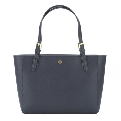 Tory Burch Navy Saffiano York Small Buckle Tote (New With Tags)