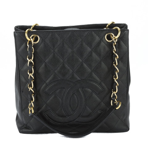 Chanel Black Quilted Caviar Leather PST Bag (Pre Owned)