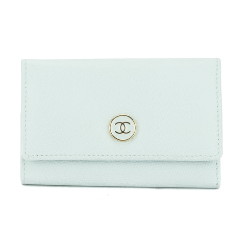 Chanel Light Blue Calfskin Leather Key Case (Pre Owned)