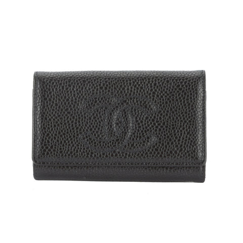 Chanel Black Caviar Leather Key Case (Pre Owned)