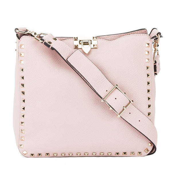 af1bf0a3de Valentino Light Pink Leather Rockstud Utilitarian Small Crossbody Bag New  with Tags