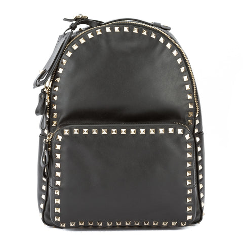 Valentino Black Leather Medium Rockstud Backpack (New with Tags)