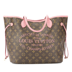 Louis Vuitton Rose Velours Monogram Ikat Neverfull MM Bag (Pre Owned)