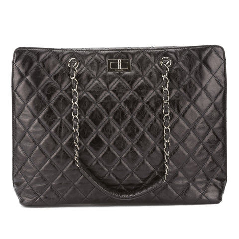 Chanel Black Quilted Aged Calfskin Reissue 2.55 Chain Tote Bag (Authentic Pre Owned)