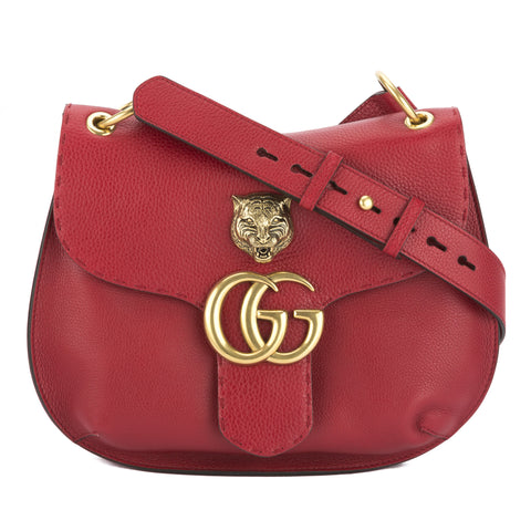 Gucci Red Leather GG Marmont Shoulder Bag (New with Tags)