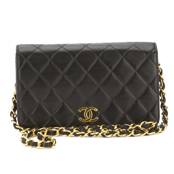 a717ebe12fae Chanel Black Quilted Lambskin Leather Small Single Flap Chain Bag Pre Owned