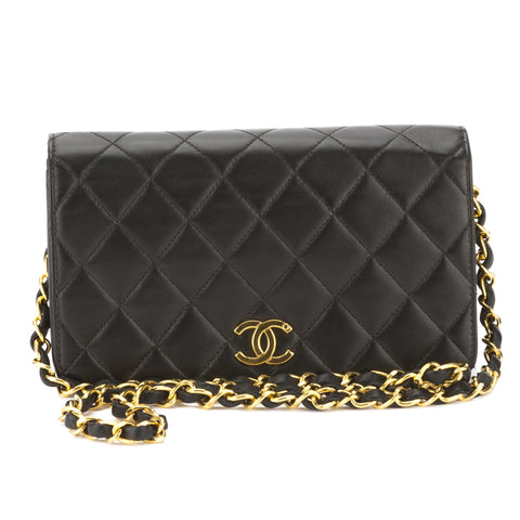 Chanel Black Quilted Lambskin Leather Small Single Flap Chain Bag (Pre Owned)