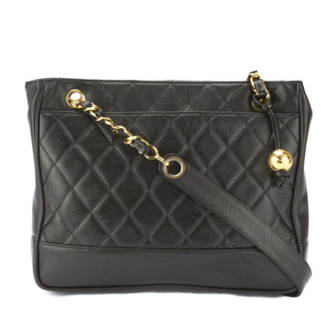 Chanel Black Quilted Caviar Leather Medium Chain Bag (Pre Owned)