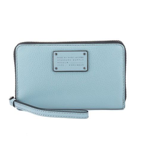 Marc Jacobs Ice Blue Leather 'New Q Wingman' Wallet (New with Tags)
