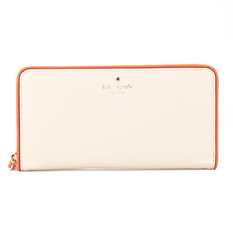 Kate Spade Porcelain and Bright Papaya Leather Cobble Hill Lacey Wallet (New with Tags)