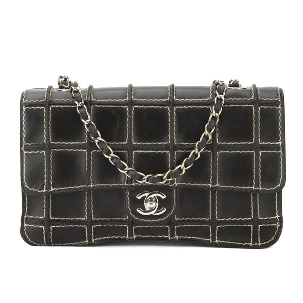 b07b23f5c807 Chanel Black Leather Ligne Brooklyn Patchwork Flap Bag (Pre Owned ...
