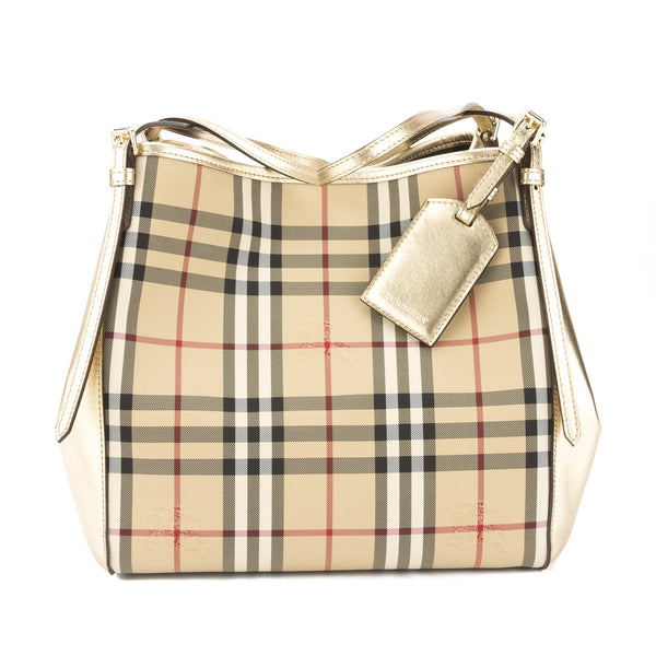 1d72c886d355 Burberry Gold Horseferry Check Small Canter Tote Bag (New with Tags ...