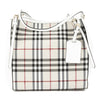 Burberry Stone White Horseferry Check Small Canter Tote Bag (New with Tags)