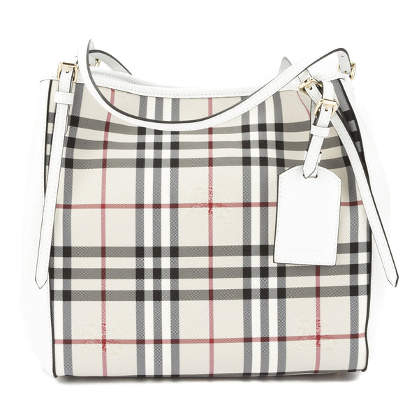 280bcacfcdd0 Burberry Stone White Horseferry Check Small Canter Tote Bag New with Tags