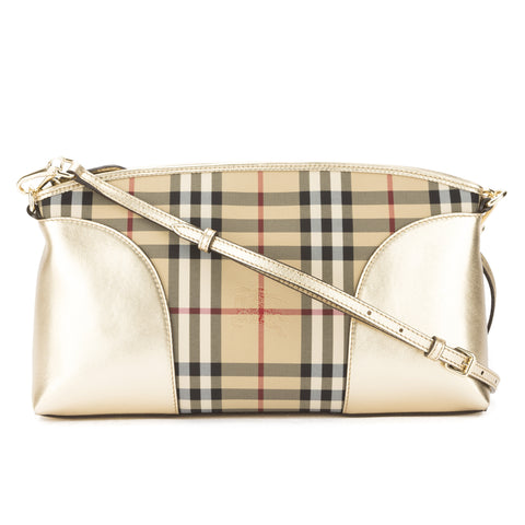 Burberry Gold Leather and Horseferry Chichester Crossbody Bag (New with Tags)