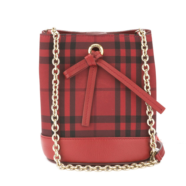 8badd088eee1 Burberry Red Horseferry Check Overdyed Baby Bucket Bag (New with ...
