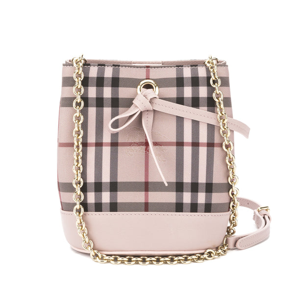 Burberry Pale Orchid Horseferry Check Overdyed Baby Bucket Bag New with Tags 487d3f5d93