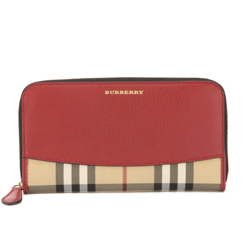 Burberry Red Leather and Horseferry Check Continental Wallet (New with Tags)