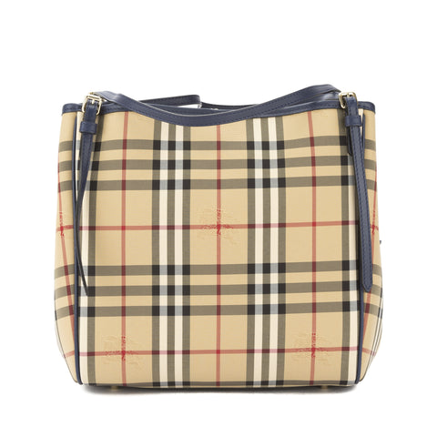Burberry Brilliant Navy Horseferry Check Small Canter Tote Bag (New with Tags)