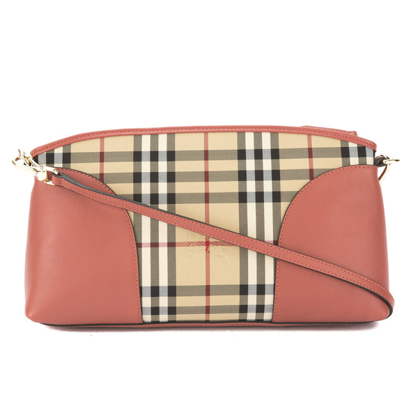 5efa5c155c6a Burberry Pale Orchid Leather and Horseferry Check Clutch Bag New with Tags