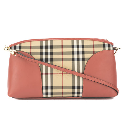 Burberry Pale Orchid Leather and Horseferry Check Clutch Bag (New with Tags)