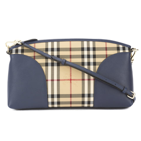 Burberry Brilliant Blue Leather and Horseferry Check Clutch Bag (New with Tags)