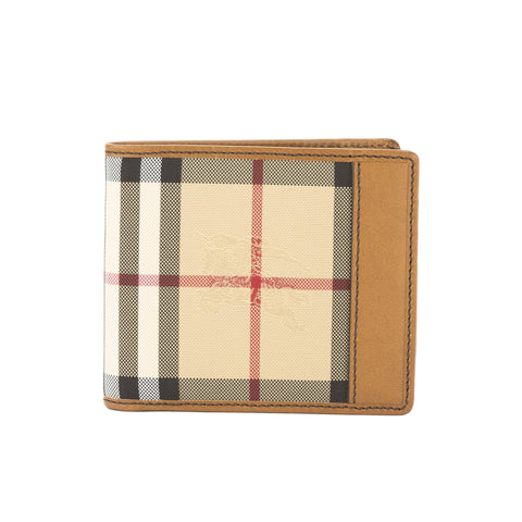 Burberry Tan Leather and Horseferry Check ID Wallet (New with Tags)