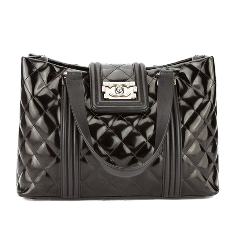 Chanel Black Quilted Patent Leather Boy Tote (Pre Owned)