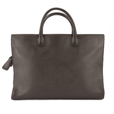 Chanel Brown Lambskin Leather CoCo Mark Tote (Pre Owned)