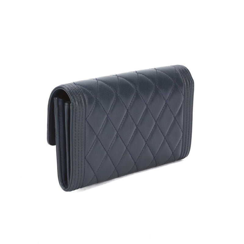 Chanel Blue Qulited Lambskin Leather Coco Mark Wallet (Pre Owned)