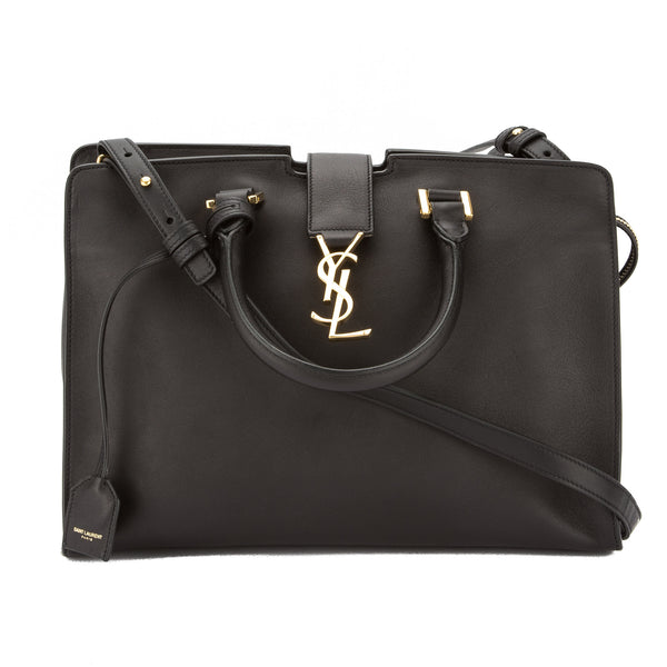 Yves Saint Laurent Saint Laurent Black Leather Small Monogram Cabas Bag New  with Tags aa068be8a28de
