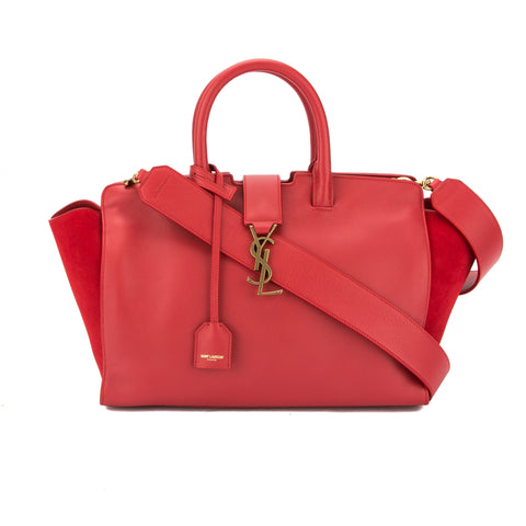 Saint Laurent Red Leather Small Monogram Cabas Bag (New with Tags)