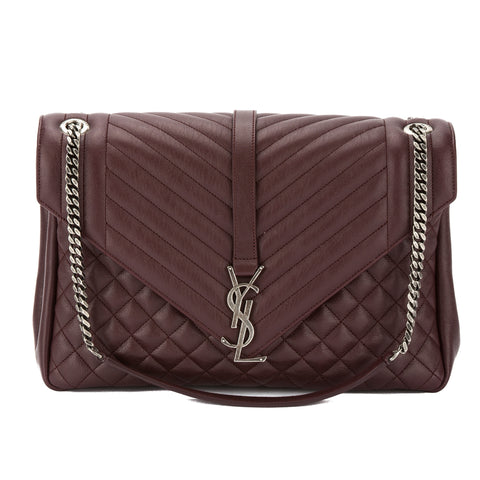 Saint Laurent Burgundy Leather Mixed Matelasse Large Monogram Envelop Satchel (New with Tags)