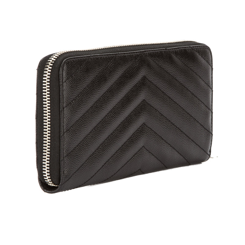 Saint Laurent Black Grain De Poudre Textured Matelasse Monogram Saint Laurent Zip Around Wallet (New with Tags)
