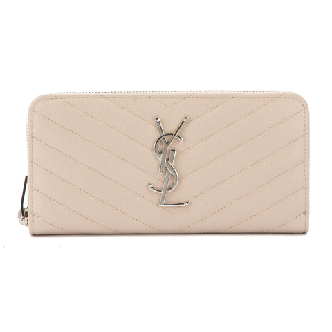 Saint Laurent Pale Blush Grain De Poudre Textured Matelasse Monogram Saint Laurent Zip Around Wallet (New with Tags)