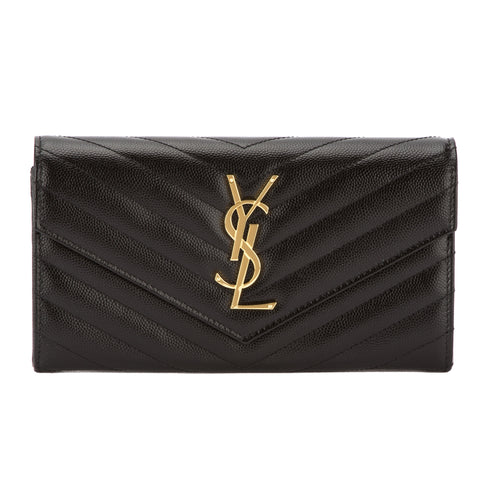 Saint Laurent Black Grain De Poudre Textured Matelasse Large Monogram Flap Wallet (New with Tags)