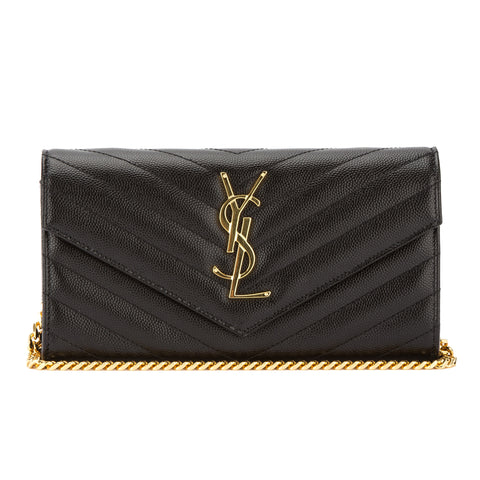 Saint Laurent Black Grain De Poudre Textured Matelasse Monogram Small Chain Wallet (New with Tags)