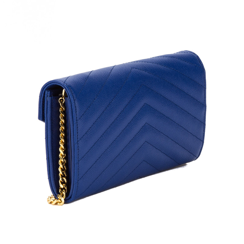 Saint Laurent Royal Blue Grain De Poudre Textured Matelasse Monogram Small Chain Wallet (New with Tags)