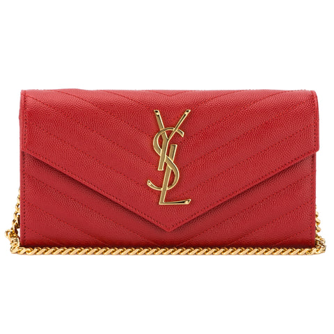 Saint Laurent Red Grain De Poudre Textured Matelasse Monogram Saint Laurent Small Chain Wallet (New with Tags)
