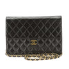Chanel Black Quilted Lambskin Leather Single Flap Chain Clutch Bag (Pre Owned)