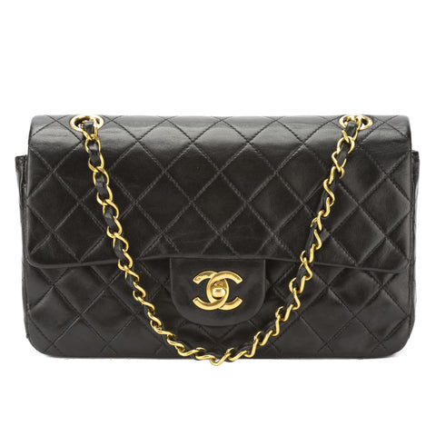 Chanel Black Quilted Lambskin Leather Vintage 2.55 Double Flap Chain Bag (Pre Owned)