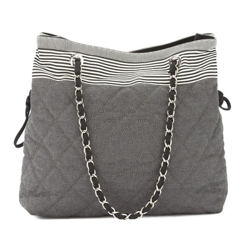 Chanel Gray Striped Canvas Coco Mark Tote Bag (Pre Owned)