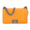 Chanel Orange Quilted Leather Medium Boy Flap Bag (Pre Owned)