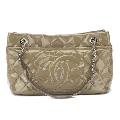 Chanel Beige Patent Leather CoCo Mark Shoulder Bag (Pre Owned)