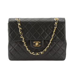 Chanel Black Quilted Leather Medium Double Flap Chain Bag (Pre Owned)