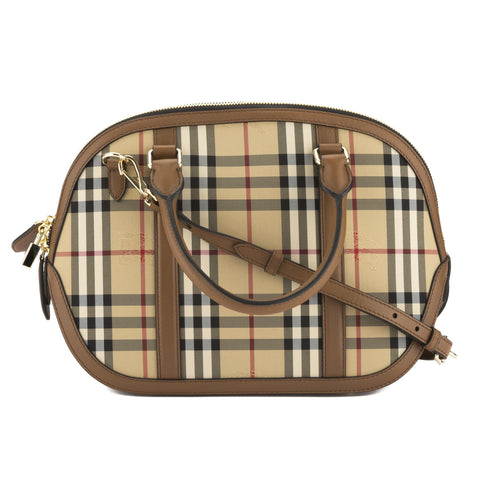 Burberry Tan Leather Horseferry Check Small Orchard Bag (New with Tags)